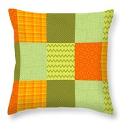 Patchwork Patterns - Orange And Olive Throw Pillow