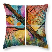 Patchwork Sky Tree Painting With Colorful Sky Throw Pillow