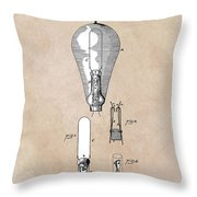 patent art Edison 1892 Incandescent electric lamp Throw Pillow