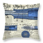 Patent, Old Pen Patent,blue Art Drawing On Vintage Newspaper Throw Pillow