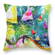 Path Around The Lake Throw Pillow