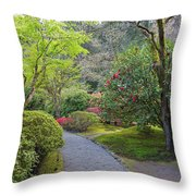 Path At Japanese Garden Throw Pillow