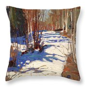 Path Behind Mowat Lodge Throw Pillow