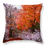 Path In Fall With Early Snowfall Throw Pillow