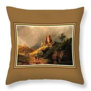 Path Next To The Ruins Of Belloque Castle L B With Decorative Ornate Printed Frame. Throw Pillow