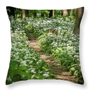 Path Through A Deciduous Forest, Wild Garlic Throw Pillow