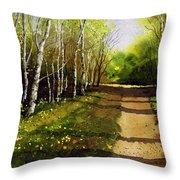 Path Through Silver Birches Throw Pillow