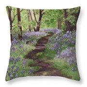 Path Through The Bluebells Throw Pillow