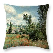 Path Through The Poppies Throw Pillow by Claude Monet
