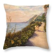 Path To Bacara , With Golden  Throw Pillow