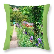 Path To Monet's House Throw Pillow