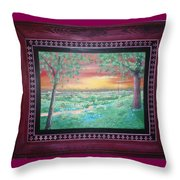Path To The Pedernales River With Painted Frame Throw Pillow