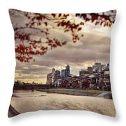 Pathway Along Kamo River In A Beautiful Dramatic Autumn Sunset S Throw Pillow