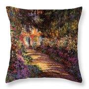 Pathway In Monet's Garden Throw Pillow