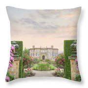 Pathway Leading To A Mansion Through Beautiful Gardens Throw Pillow