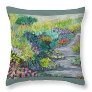 Pathway Of Flowers Throw Pillow