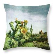Patina Green Desert Bloom Throw Pillow