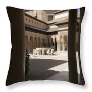 Patio De Los Leones Nasrid Palaces Alhambra Granada Throw Pillow