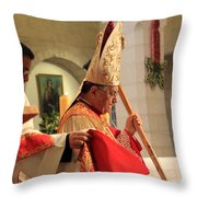 Patriarch Fouad Twal At Christmas Mass Throw Pillow