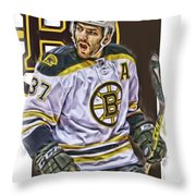 Patrice Bergeron Boston Bruins Oil Art 1 Throw Pillow