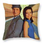 Patrick Macnee And Diana Rigg, The Avengers Throw Pillow