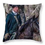 Patriot On Horse At Tower Park Battle Throw Pillow
