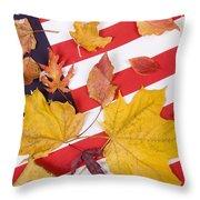 Patriotic Autumn Colors Throw Pillow