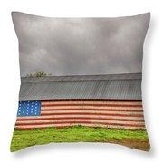 Patriotic Barn Throw Pillow