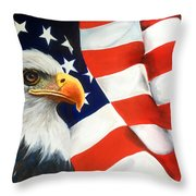 Patriotic Eagle And Flag Throw Pillow