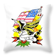 Patriotic Eagle Tattoo Throw Pillow