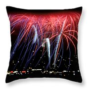 Patriotic Fireworks S F Bay Throw Pillow