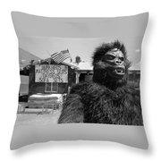 Patriotic Gorilla Pitchman July 4th Mattress Sale Tucson Arizona 1991  Throw Pillow