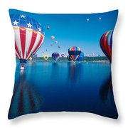 Patriotic Hot Air Balloon Throw Pillow