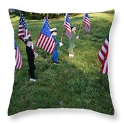 Patriotic Lawn Ornaments Represent Throw Pillow