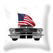 Patriotic Mustang On White Throw Pillow