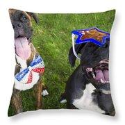 Patriotic Pups Throw Pillow