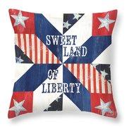 Patriotic Quilt 3 Throw Pillow