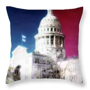 Patriotic Texas Capitol Throw Pillow