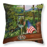 Star Spangled Wine - Fourth Of July - Blue Ridge Mountains Throw Pillow
