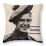 Patriotic World War 2 Poster Us Allies Canada Throw Pillow