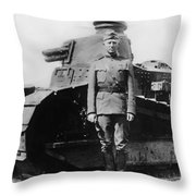 Patton Beside A Renault Tank - Wwi Throw Pillow