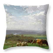 Paturage En Auvergne Throw Pillow