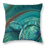 Paua Seabed By Reina Cottier Throw Pillow