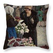 Paul Fischer, 1860-1934, Flower Market In Copenhagen Throw Pillow