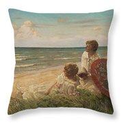 Paul Fischer, 1860-1934, Girls On The Beach Throw Pillow
