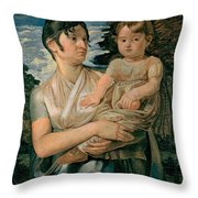 Pauline Runge With Her Two Year Old Son Throw Pillow