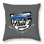 Pauls Garage Camaro Throw Pillow