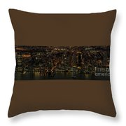 Paulus Hook, Jersey City Aerial Night View Throw Pillow