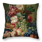 Paulus Theodorus Van Brussel - Still Life Of Flowers And Fruit On A Stone Ledge, Throw Pillow