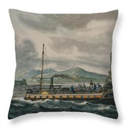 Pavel Petrovich Svinin, 1787 -1839, Steamboat Travel On The Hudson River Throw Pillow